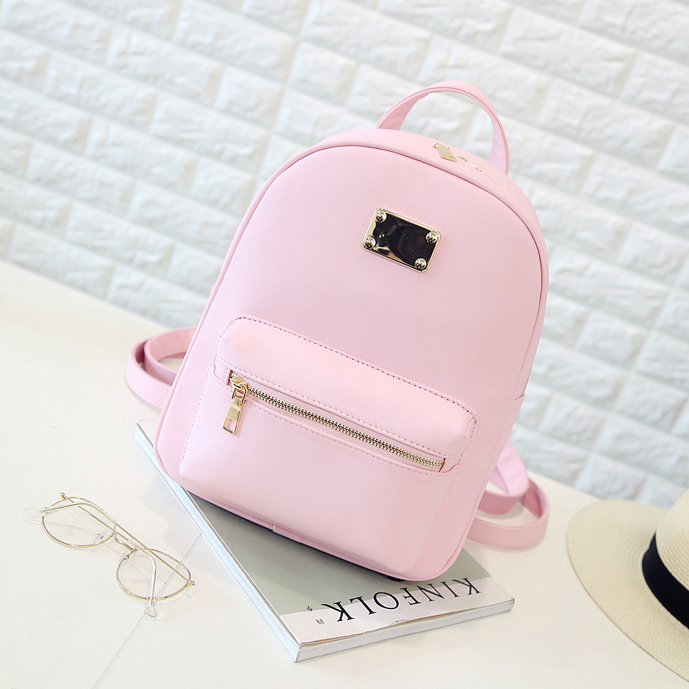 1400133a674 US $20.37 7% OFF Women Backpack Small Size Black PU Leather Women's  Backpacks Fashion School Girls Bags Female Back Pack Famous Brand  mochilas-in ...