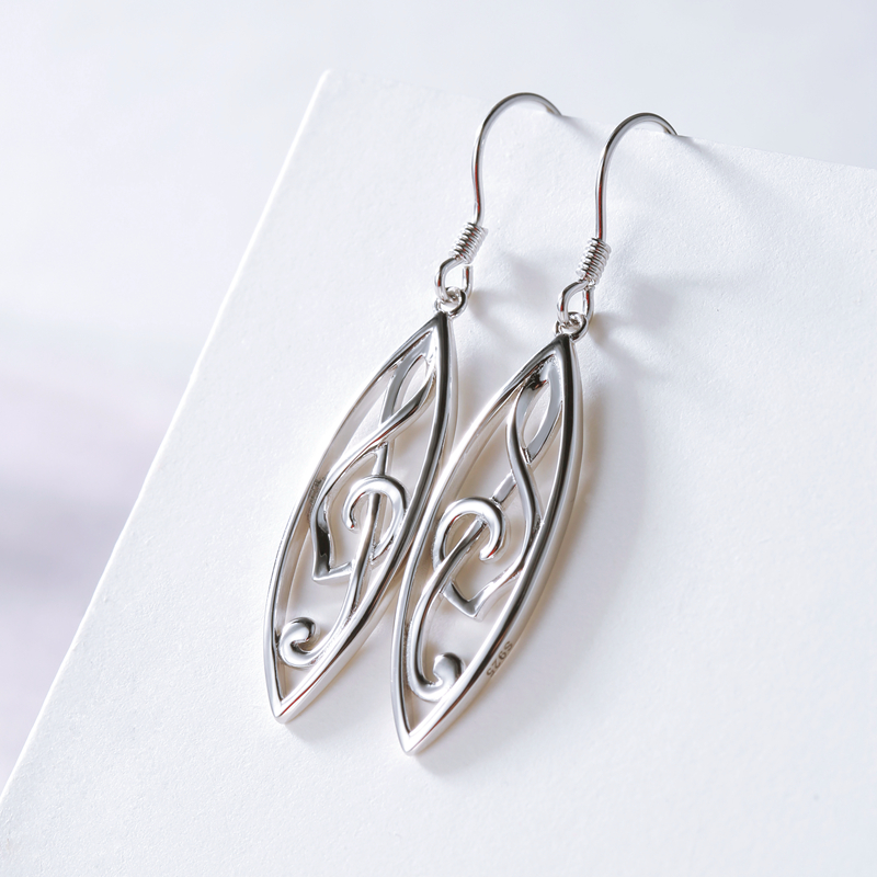 2019 New Fashion 100 925 Sterling Silver Music Melody Notes Drop Earrings for Women Girl Party DIY Jewelry free shipping in Drop Earrings from Jewelry Accessories
