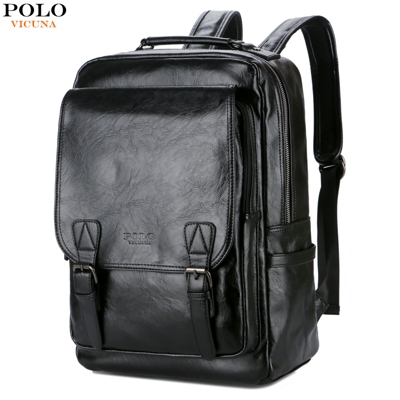VICUNA POLO Leather Multifunction Men 15 inch Laptop Rucksack For Teenager School Backpack Fashion Male Leisure Travel mochila vicuna polo men leather usb cable travel laptop backpack with headphone hole school backpack has front pocket bagpack mochila