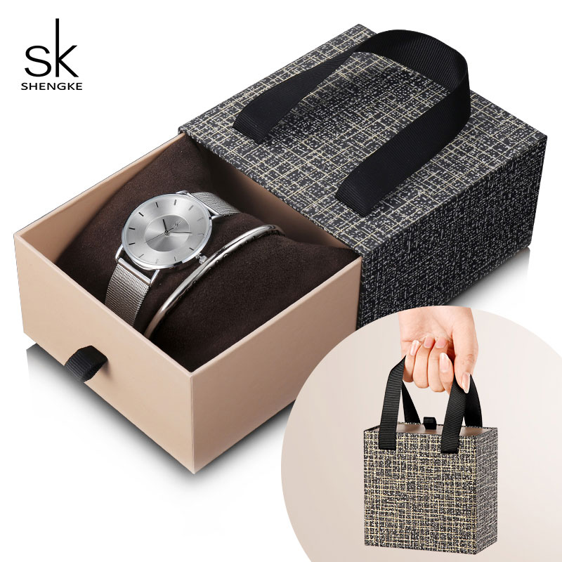 Shengke New Fashion Women Silver Watch Set 2019 Top Brand Luxury Stainless Steel Bracelet Watches Set Women Ladies Gifts