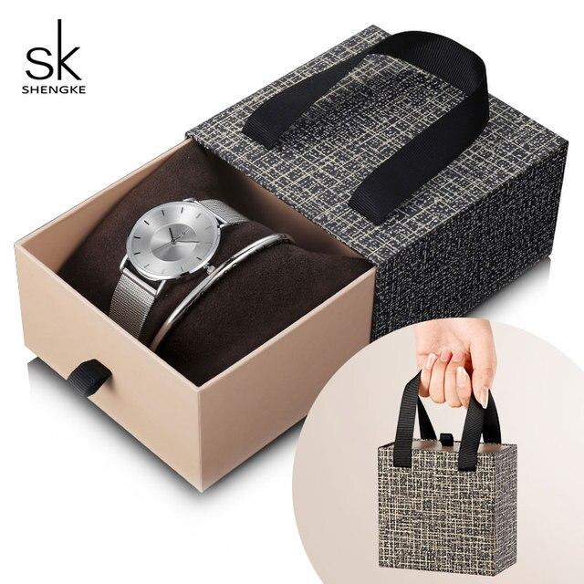 Shengke Fashion Silver Steel Women Watch Set with Box Luxury Bracelet Watches Wrist Watches Set Xmas Gift Watch for Women