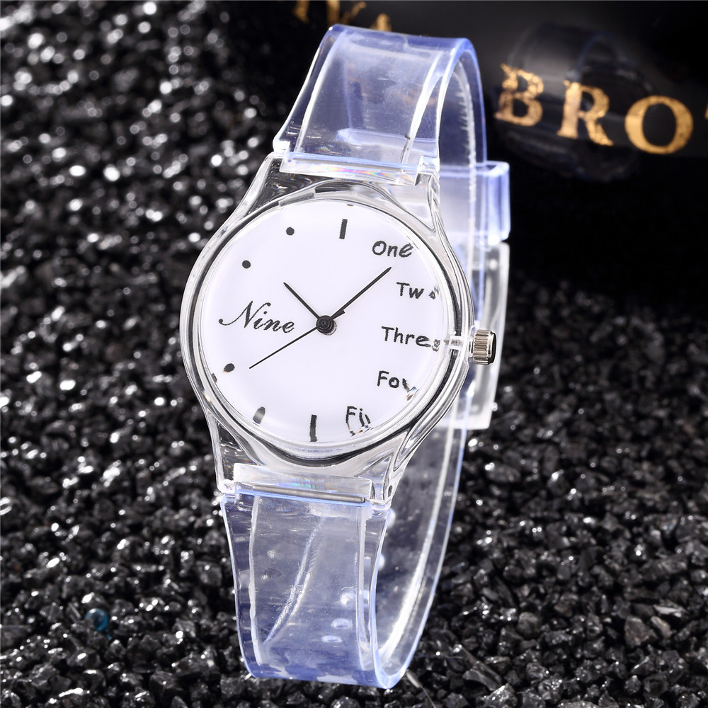 Waterproof Starry Sky Kids Watch Clover Simple Design Transparent Band Student Clock Ladies Girl Hour Gift Saat Femme Rejore