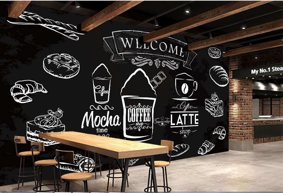 Custom food shop wallpaper coffee bread 3d modern murals for Cafe mural wallpaper