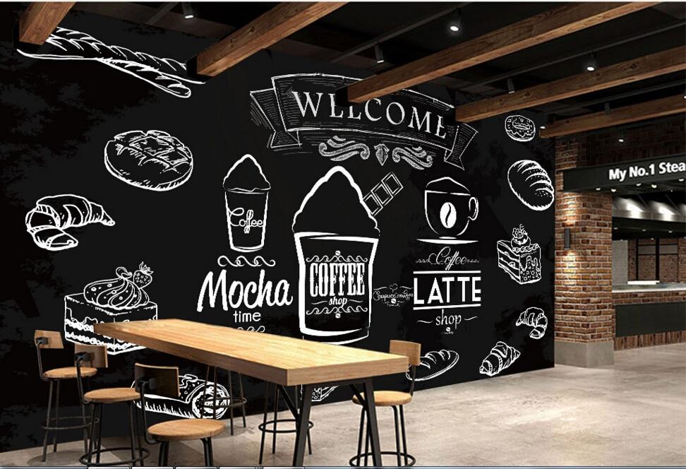 Custom Food Shop Wallpaper Coffee Bread 3d Modern Murals