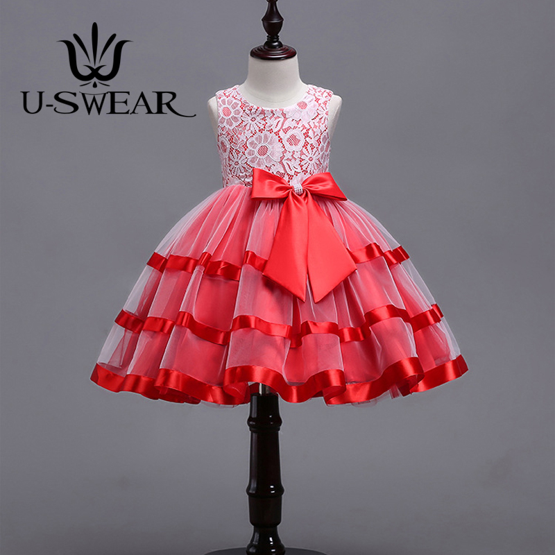 U-SWEAR 2018 New Arrival 4 Colors Kids   Flower     Girl     Dresses   Flora Lace Bow Sleeveless Lovely Communion   Dresses     Girls   Ball Gown