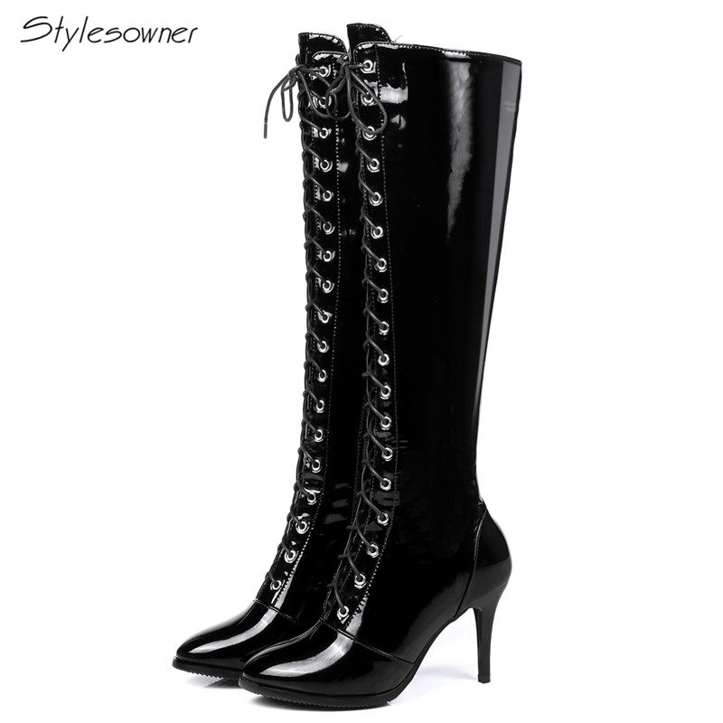 Stylesowner 2018 Autumn Fashion Patent Leather Knee High Boots Thin High Heels Long Boots Zipper Cross Tied Laces Boots PlusSizeStylesowner 2018 Autumn Fashion Patent Leather Knee High Boots Thin High Heels Long Boots Zipper Cross Tied Laces Boots PlusSize