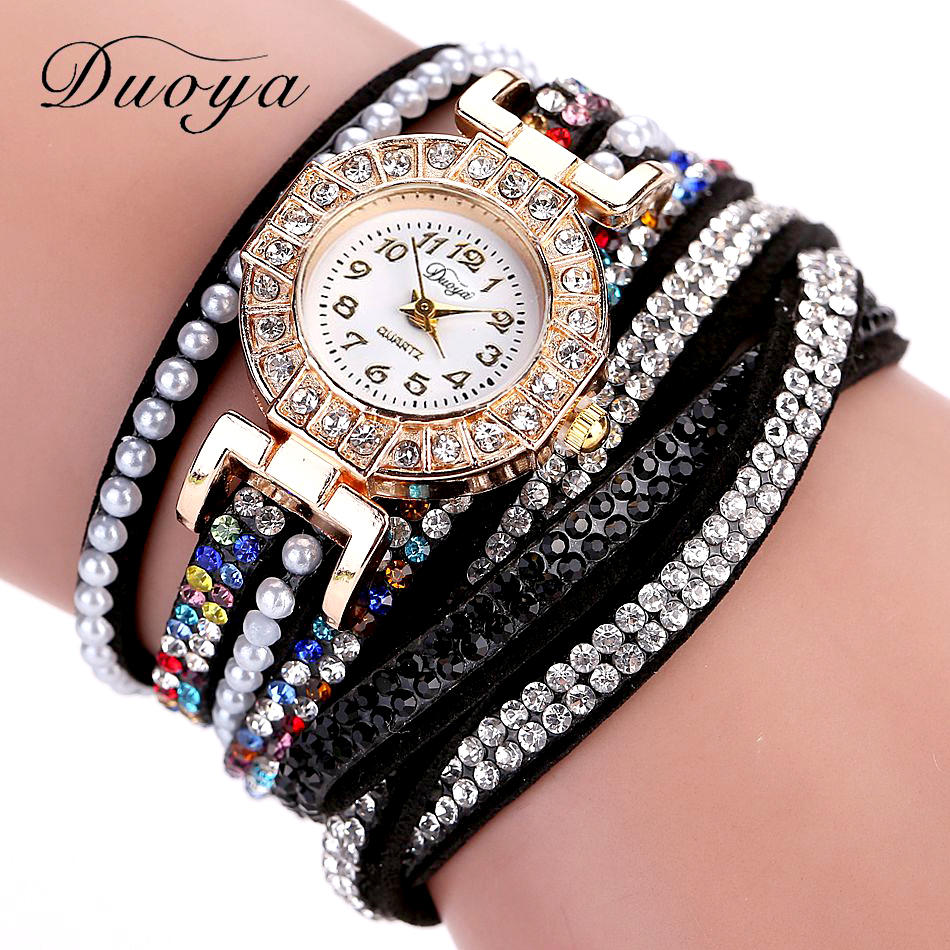 где купить Duoya Brand Watches Women Luxury Gold Dress Bracelet Wristwatch Pearl Crystal Casual Ladies Quartz Watch Business Vintage Clock по лучшей цене
