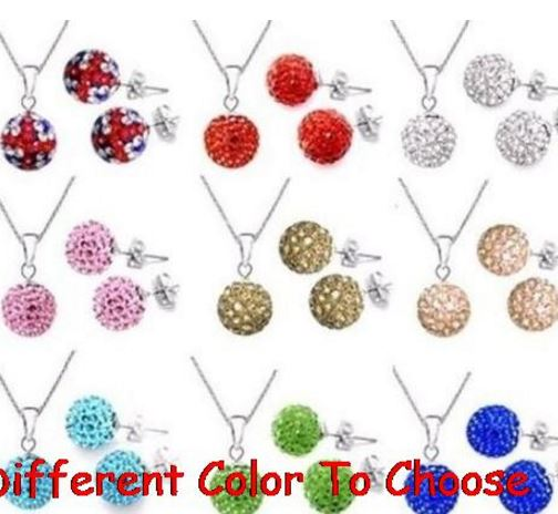 10 set/lot 10mm multicolor mixed white disco ball Crystal set silver plated drop studs earrings Necklace Chains x5362
