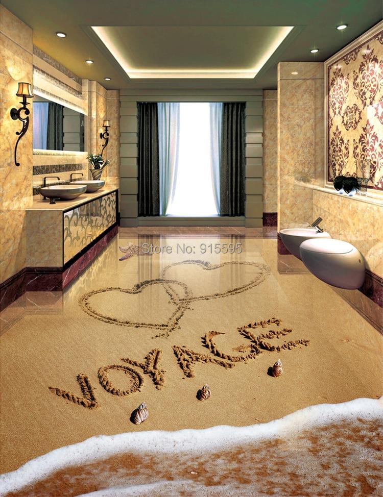Custom 3D Floor Wallpaper Living Room Bedroom Bathroom Romantic ...