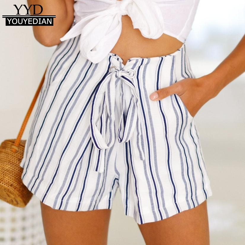 New Arrival 2020 Summer Shorts For Women Casual Drawstring Waist Striped Shorts Pockets Beach Women Pencil Pantalon Corto Mujer