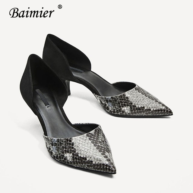 57b18488dd7 Baimier Summer Snake High Heels Women Pumps Patent Leather Kitten Heel  Women Wedding Shoes Pointed Toe Party Shoes Woman