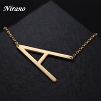 Nirano Alphabet Initial Necklaces Pendant Letter Necklace Stainless Steel Choker Necklace Women Jewelry DIY Personalize Necklace