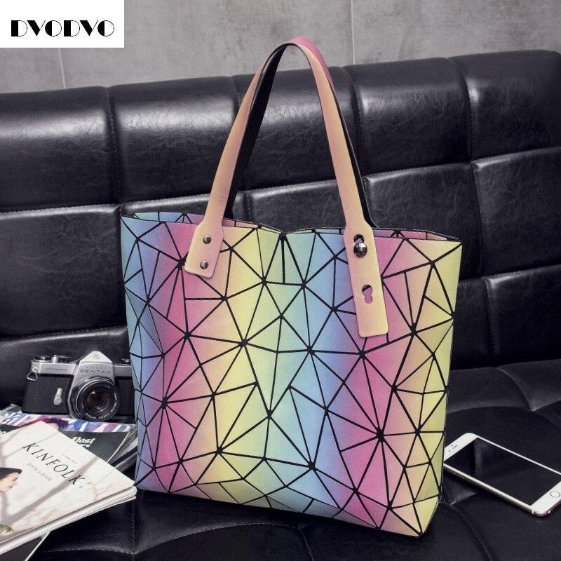 DVODVO Women Tote Bags bao bao Fold Diamond Iridescent Handbag PU Leather High Quality Laser Geometric Designer Handbags iridescent pu wallet