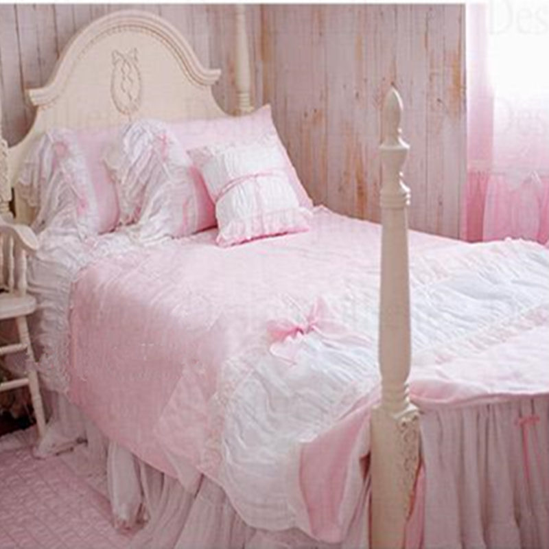 4pcs set Korean fashion bedding Lace pink bow embroidery wedding decoration bedding princess dream wedding home