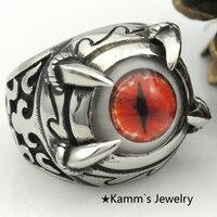 עיניים אדומות רוכבי אופניים paw claw טאלון טבעת טבעות באיכות פלדת stanless גותי תכשיטי כסף טבעת אצבע פאנק man mens המפלגה KR294 לנו