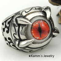 Red Eyes Paw Claw Talon Bikers Ring Stanless Steel Quality Rings Gothic Silver Jewelry Punk Finger