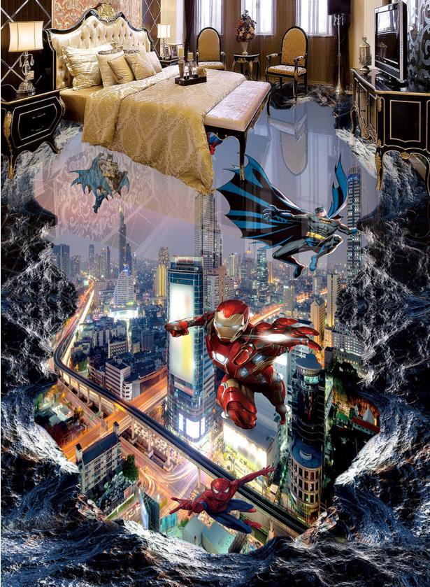 ФОТО 3d floor murals spiderman League wallpaper 3d floor tiles pvc waterproof floor 3d photo wallpaper