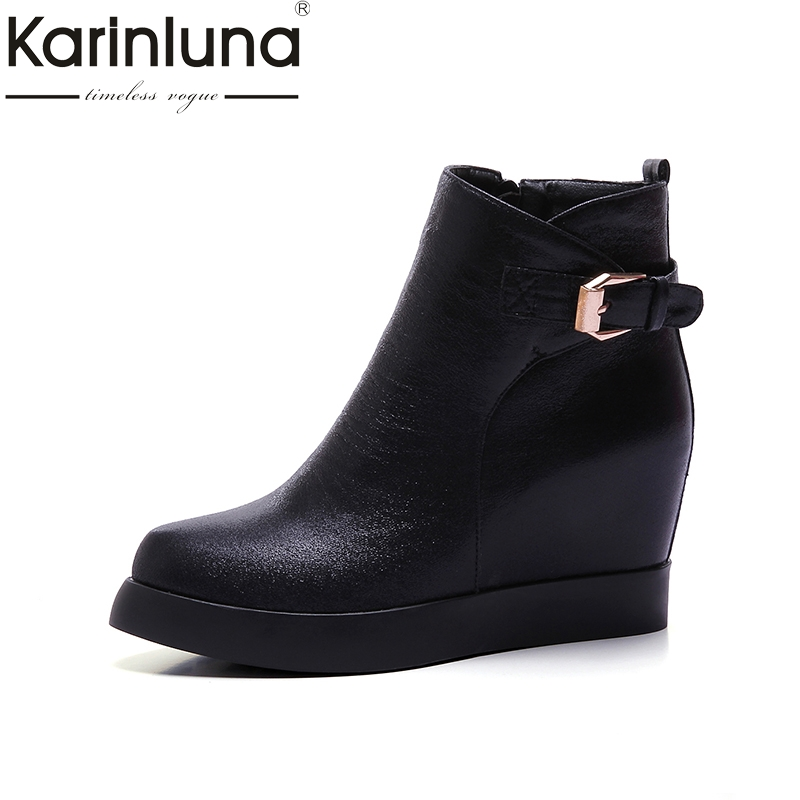 KARINLUNA 2018 large size 34-43 height increasing high heels fashion shoes women shoes zip up platform ankle boots woman shoes morazora fashion punk shoes woman tassel flock zipper thin heels shoes ankle boots for women large size boots 34 43