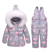 Winter Warm Baby Girl Sets Artificial Wool Hooded Down Jacket Coat+Overalls 2pcs Cartoon Toddler Jumpsuit Snowwear Children Suit