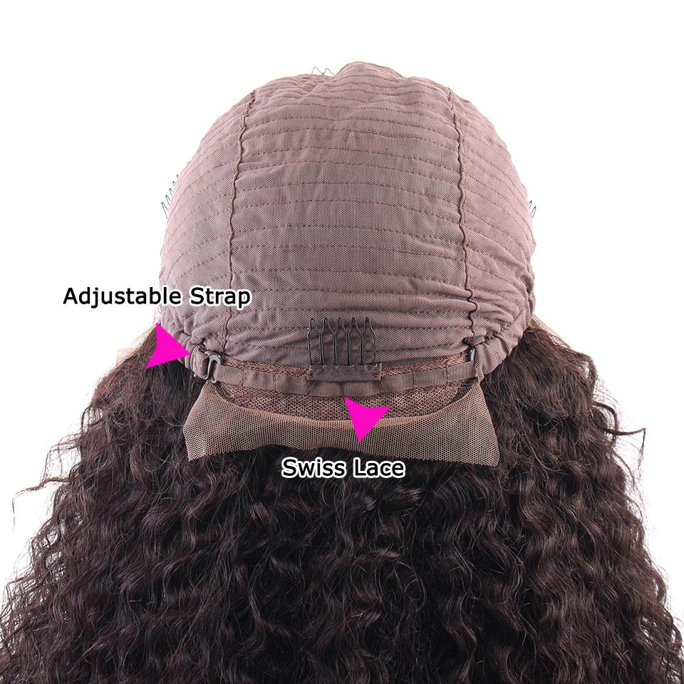 YVONNE Malaysian Curly Virgin Human Hair Lace Front Paryk För Svart - Mänskligt hår (svart) - Foto 6