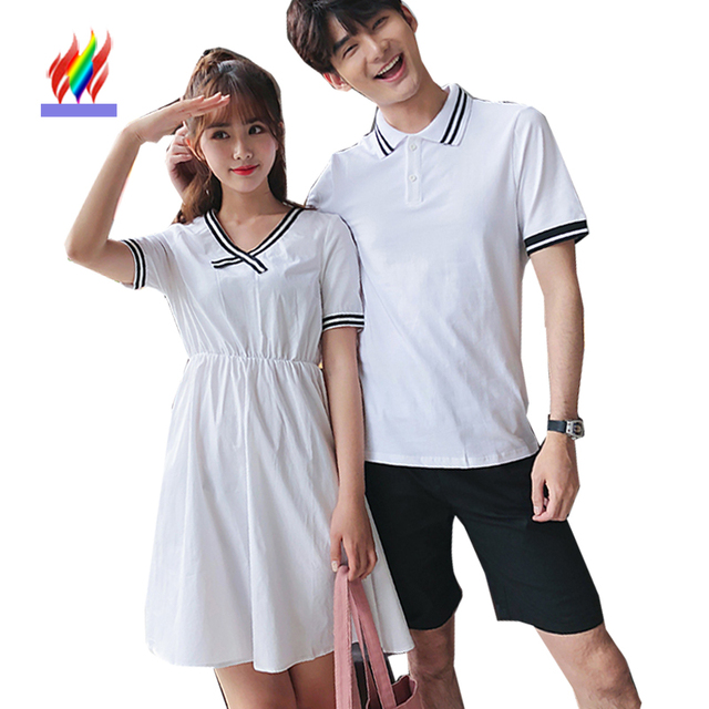 de1915fb8f8 Matching Couple Clothes Lovers Japan Korea Preppy Style Girls A Line  Dresses Slim Waist White Striped