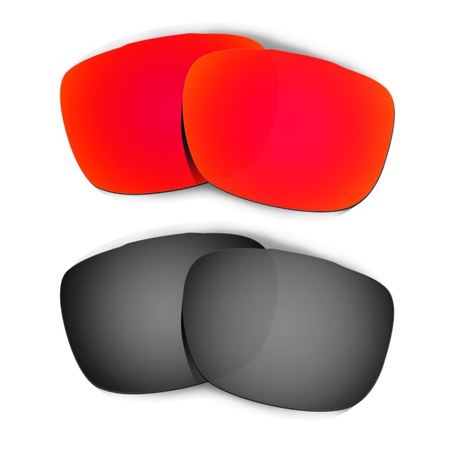 d00cd05e4b HKUCO For Two Face Sunglasses Polarized Replacement Lenses 2 Pairs Black    Red