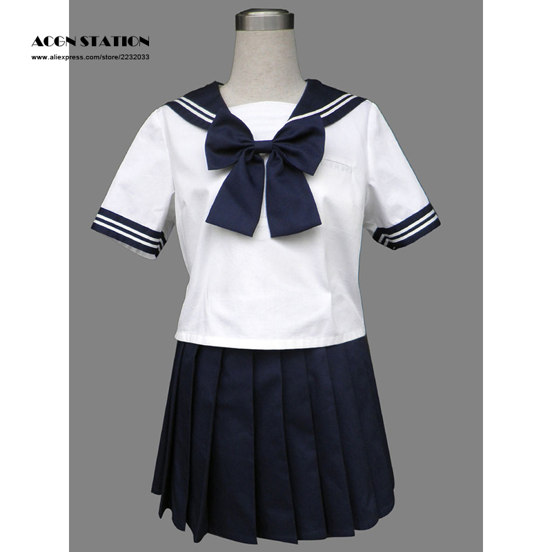 2018 Free Shipping Royal Blue Cute Short Sleeves Girl School Uniform Sailor Suit Halloween Cosplay Costume Customize