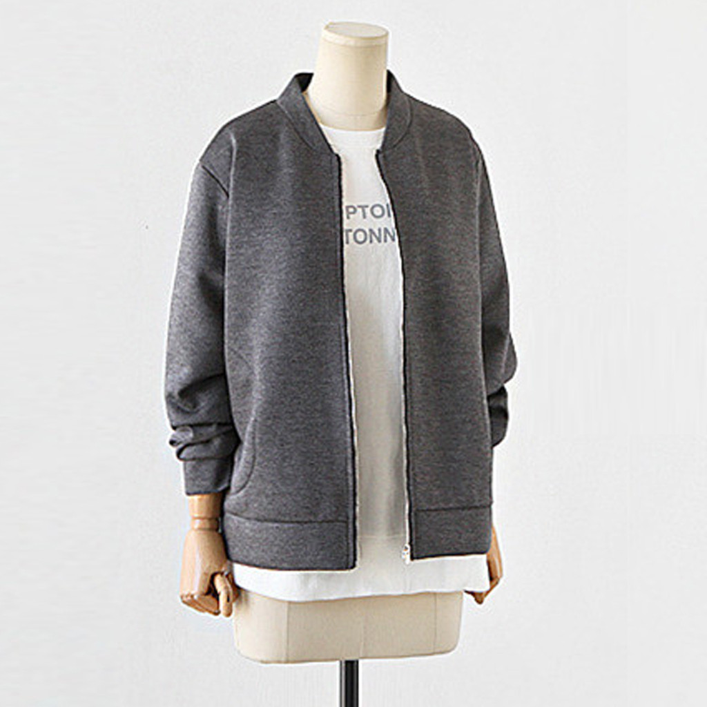 2018 plus size fashion women coat pure color plus size zipper coats easy cashmere jacket blouse women coat jackets