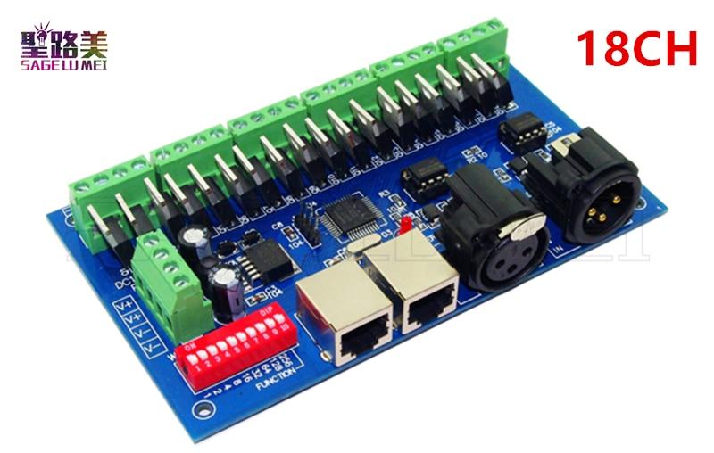 1pcs DC12-24V 18CH Channels 3A/Ch DMX512 with XLR RJ45 Easy DMX LED Decoder,Controller,Dimmer For LED RGB Strip Light Modules 1pcs 27ch 27channel 9group 3a ch dmx512 led decoder controller dimmer for dc12 24v leds rgb strip light modules