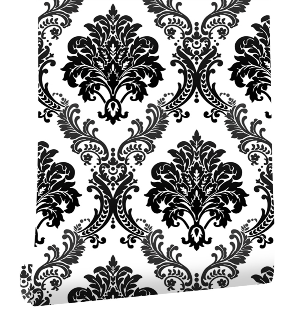 Haokhome Floral Damask Wallpaper Non Woven Wall 3d Rolls White/Black Textured For Living room bedroom home art decoration fashion floral rattan butterflies pattern bedroom decoration wall stickers