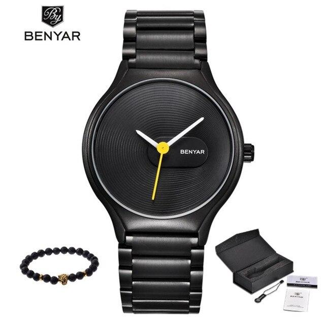 Новое поступление 2017 benyar модный бренд Простые Спорт Кварцевые часы мужские Водонепроницаемый наручные часы Relogio Masculino