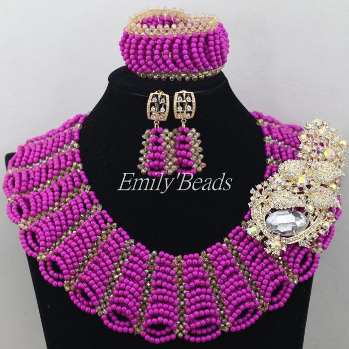 Aliexpress.com : Buy Purple Nigerian Beads Necklace Jewelry Set ...