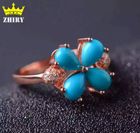 Real Turquoise Ring 100 Natural Gem Stone Genuine Solid Sterling Silver Rose Gold Plated Woman Charm
