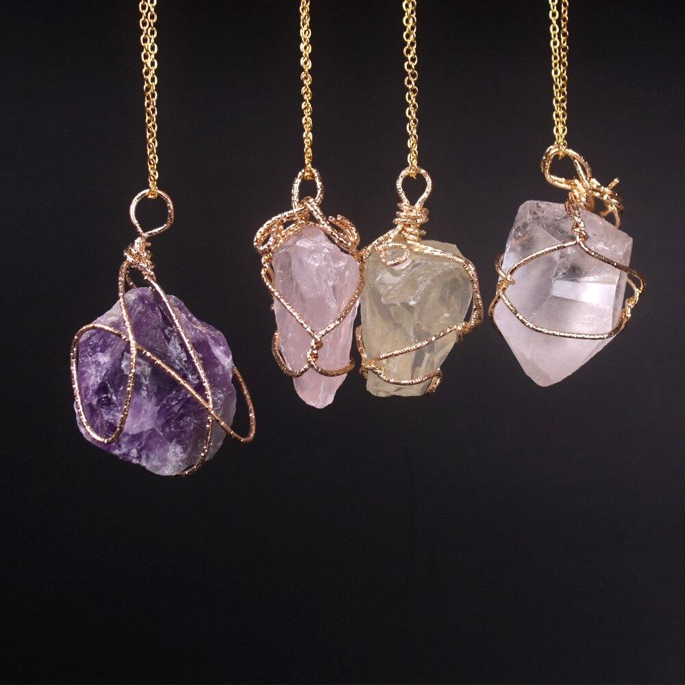 Neue Klassische Handarbeit Twining Unregelmäßigen Natürlichen Stein Anhänger Lila Kristall Rosa Quarz Kristall Halskette Für Frauen