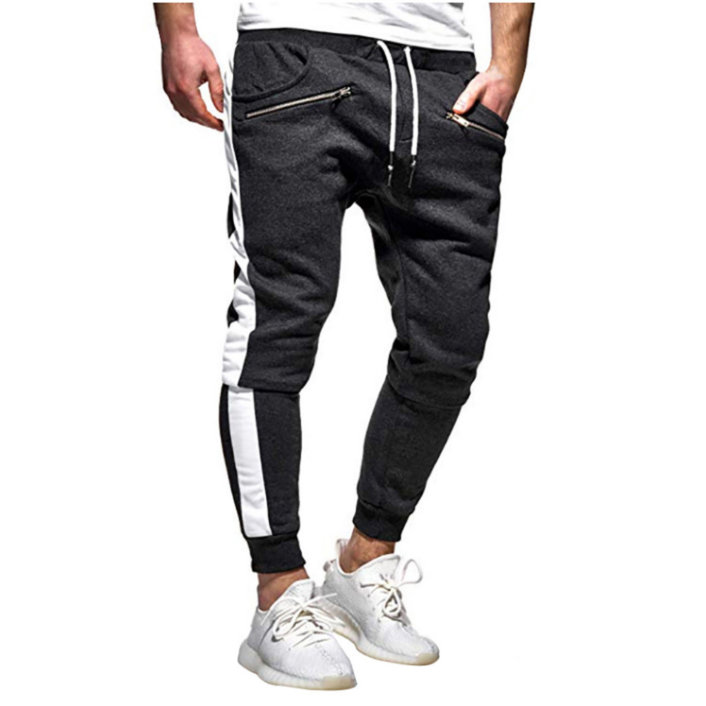 2019 Men\`s zipper solid color jogging pants casual pocket sports cargo pants outdoor sports harem pants men Quick drying 40J6 (2)