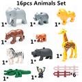 16 unids/lote! Animales de la selva Set DIY Crocodile Hippo Compatible con Duploe Grandes Bloques de Construcción de Juguetes Educativos Juguetes de Los Niños