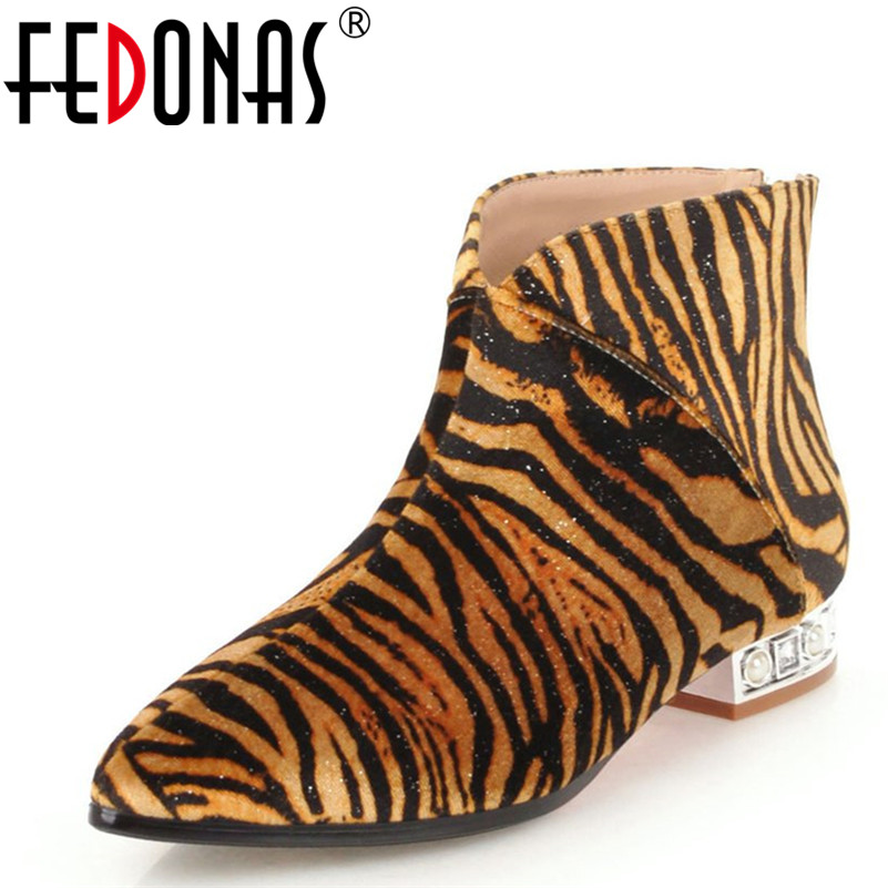 FEDONAS Fashion Women Ankle Boots Sexy Pointed Toe Square Heels Shoes Autumn Winter Warm Leopard Party Prom Shoes Woman Boots цены онлайн