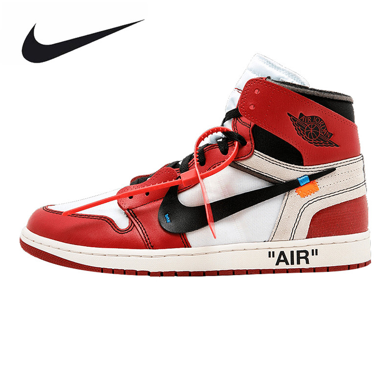 Nike The 10: Air Jordan 1 OFF WHITE Mens Basketball Shoes , Red, Shock Absorption Wear Resistant Breathable AA3834 101 ...