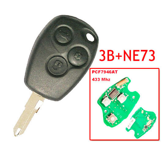 Free Shipping 3 Button Remote Key With 7946 Chip Round Button With NE73 Blade For Renault 5pc/lot