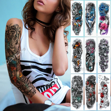 Large Arm Sleeve Tattoo Red Phoenix Rose Waterproof Temporary Sticker Paper Letter Life Tree Tatoo Body Art Women