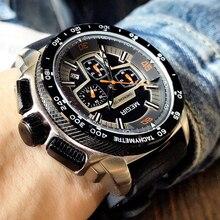 Chronograf MEGIR męskie wojskowe zegarki sportowe moda Casual pasek silikonowy zegarek kwarcowy na rękę zegar Relogio Masculino