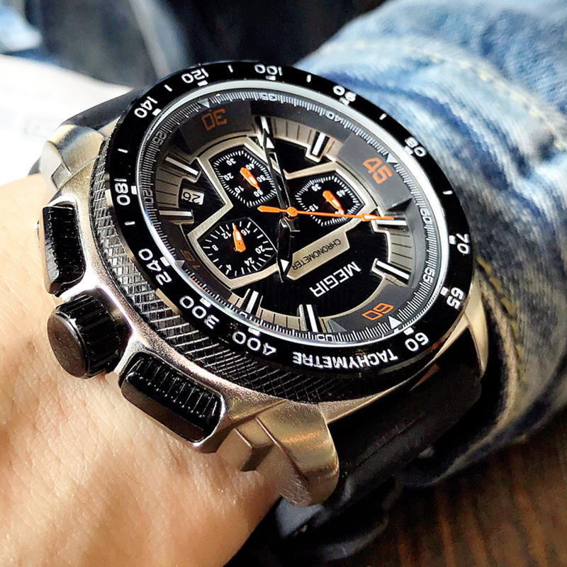 MEGIR Chronograph Men's Army Military Sports Watches Fashion Casual Silicone Strap Quartz Wrist Watch Clock Relogio Masculino