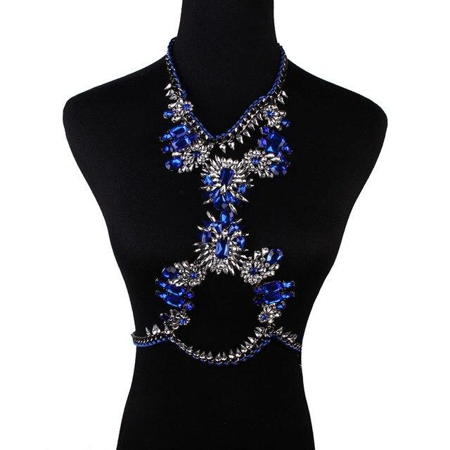 Sexy Women Blue Harness Body Belly Waist Chain Crystal Necklace Bikini Beach Jewelry Bodychains