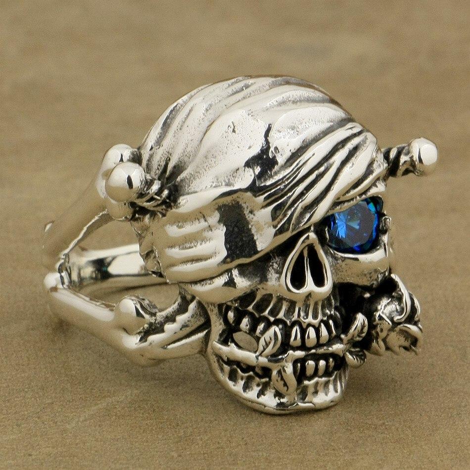 Bague crâne de Pirate en argent Sterling 925 Rose bleu CZ Style motard 9W101