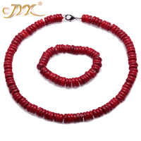 JYX Fine 11-12mm Red Shaped Sea Bamboo Coral Necklace 19