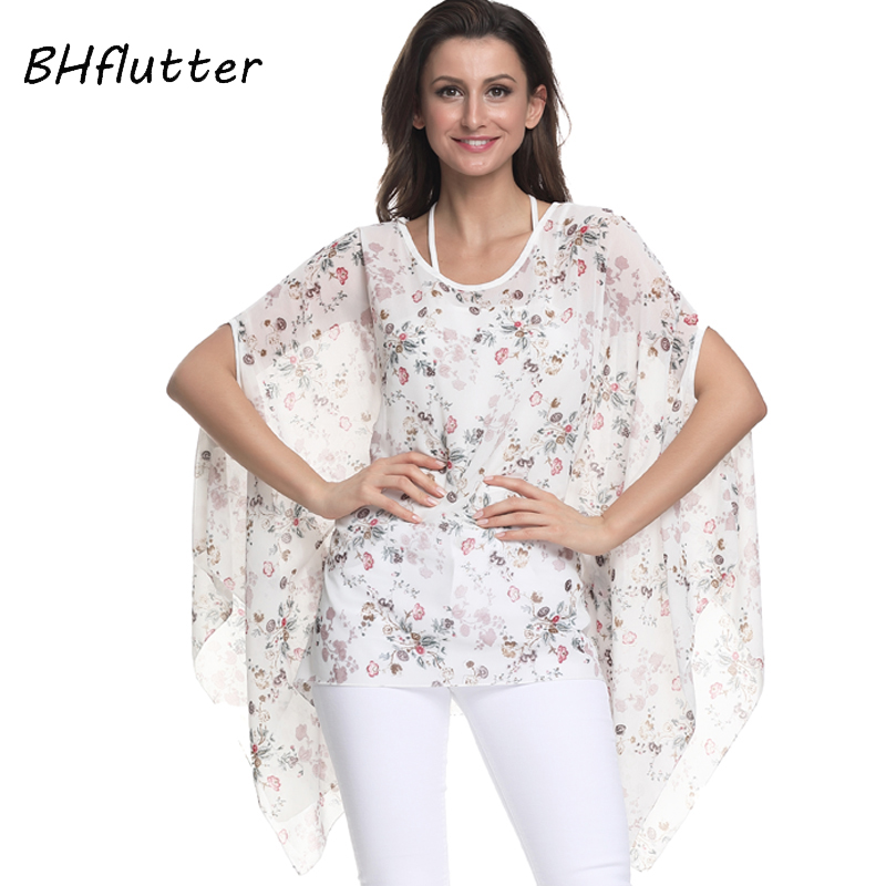 BHflutter Plus Size   Blouses   2018 New Fashion Women   Shirts   Floral Printing Batwing Casual Chiffon   Blouse     Shirt   kimono Summer Tops