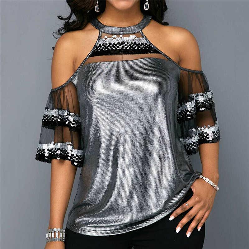 Женская сетчатая блуза с блестками, топы, новинка, Женская открытая Лоскутная Модная рубашка с открытыми плечами, короткий рукав, летняя одежда, модная рубашка