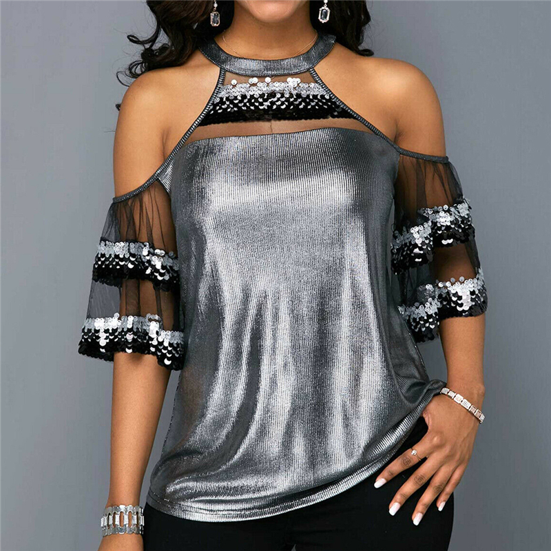 Women Mesh Sequins Blouse Tops New Lady Hollow Out Patchwork Fashion Shirts Off Shoulder Short Sleeve Summer Clothes Vogue Shirt