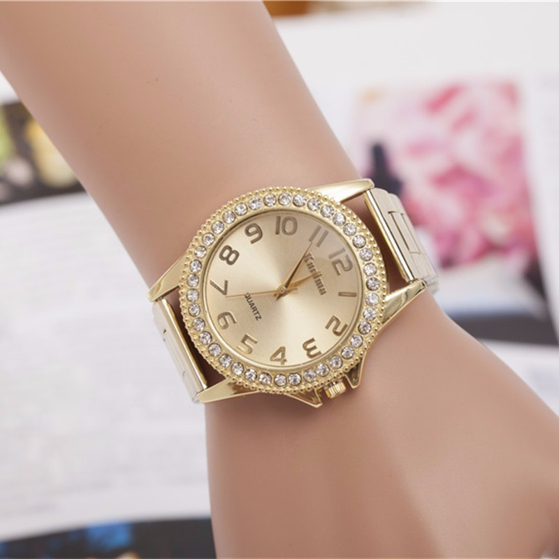 2018 Fashion Brand Luxury Gold Ladies Dress Watches Naiset Kello Stainless Steel Rhinestone Quartz Watch Women Relogio Feminino