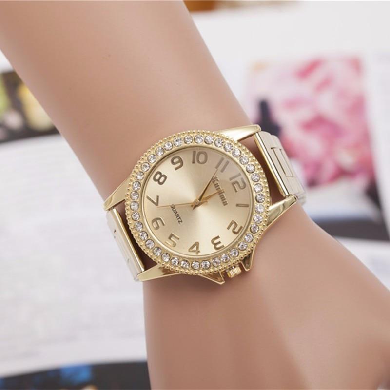 2018 Fashion Brand Luxury Gold Ladies Dress Watches Naiset Kello Stainless Steel Rhinestone Quartz Watch Women Relogio Feminino